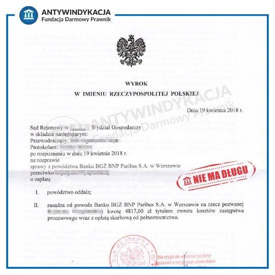 Wygrana sprawa sądowa o zapłatę długu z bankiem Bank BGŻ BNP Paribas. Wezwanie do sądu na rozprawę z bankiem.