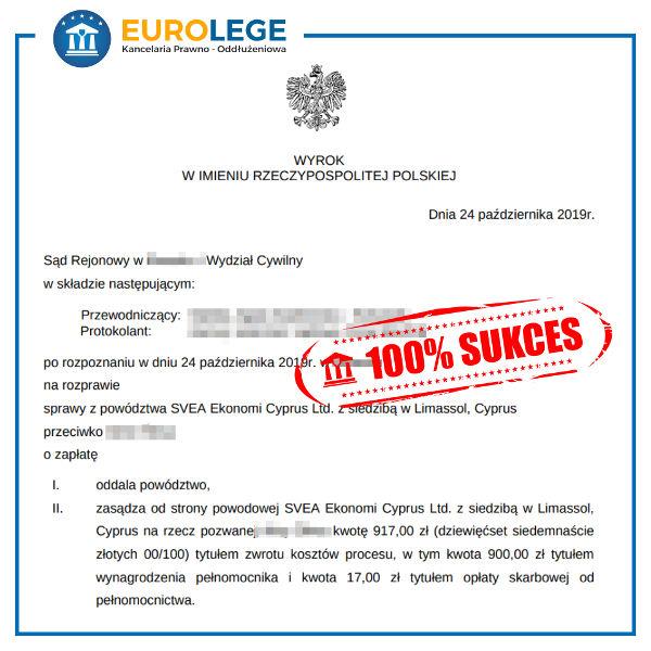 Wygrana sprawa sądowa Svea Ekonomi Cyprus powództwo oddalone