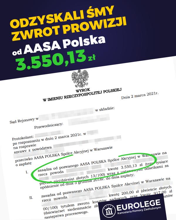 zwrot prowizji bankowej aasa polska
