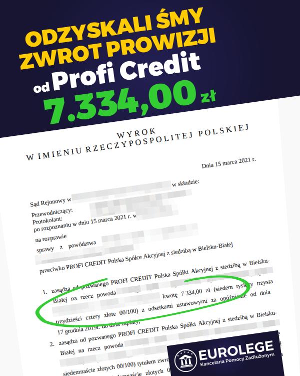 zwrot prowizji bankowej profi credit